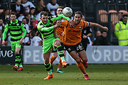 Forest Green Rovers Christian Doidge(9) battles with Barnet's Dan Sweeney(26)e during the EFL Sky Bet League 2 match between Barnet and Forest Green Rovers at The Hive Stadium, London, England on 7 April 2018. Picture by Shane Healey.