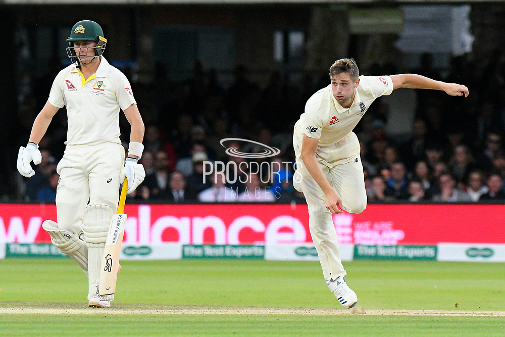 Chris Woakes of England bowling with Marnus Labuschagne of Australia watching on during the International Test Match 2019 match between England and Australia at Lord's Cricket Ground, St John's Wood, United Kingdom on 18 August 2019.