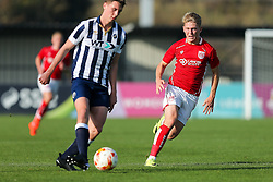 Jake Andrews of Bristol City U23 challenges - Rogan Thomson/JMP - 31/10/2016 - FOOTBALL - SGS Wise Campus - Bristol, England - Bristol City U23 v Millwall U23 - U23 Professional Development League 2 (South Division).