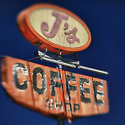 J's Coffee Shop Sign Northbound View - Delano, CA - Highway 99 - HDR - Lensbaby