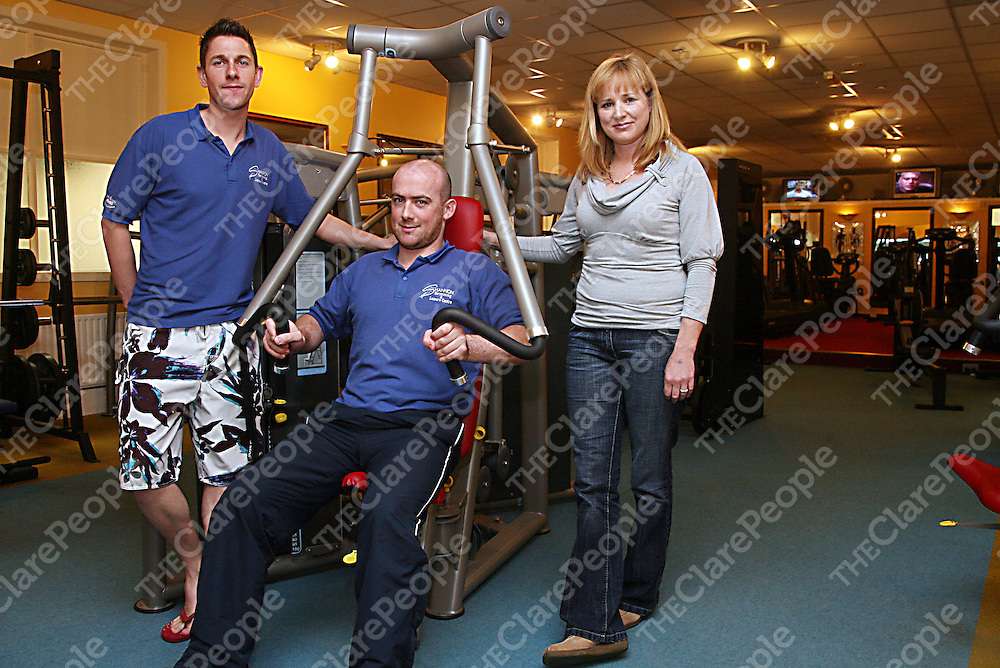 Karl Fogarty, Gerard Bowan and Eavan Drysdale in the gym in the Shannon Leisure Centre which has recently received a grant for &euro;350,000 from the Sports Capital Fund for renovations.<br />