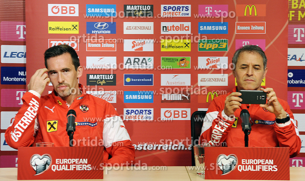 08.10.2015, Gradski Stadion, Podgorica, MNE, UEFA Euro Qualifikation, Montenegro vs Oesterreich, Gruppe G, Training, im Bild v.l.: Christian Fuchs und Trainer Marcel Koller // during Training before the UEFA EURO 2016 qualifier group G match between Montenegro and Austria at the Gradski Stadion in Podgorica, Montenegro on 2015/10/08. EXPA Pictures © 2015, PhotoCredit: EXPA/ Risto Bozovic