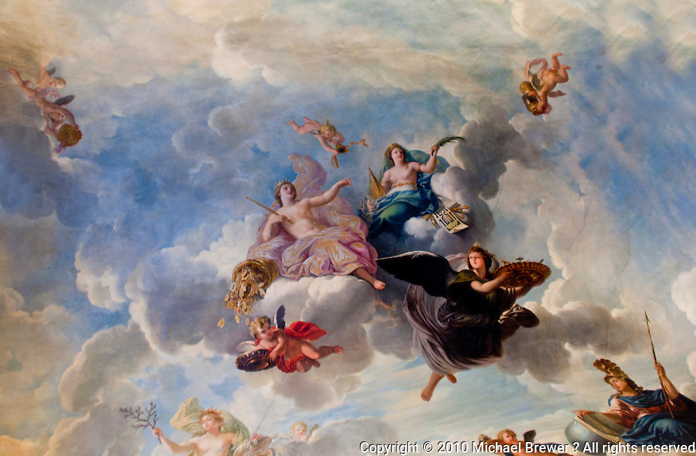 Palace of Versailles. Painting on ceiling of gods and cherubs.