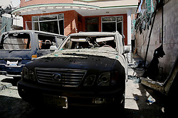 KABUL, Sept. 6, 2016 (Xinhua) -- Photo taken on Sept. 6, 2016 shows destroyed vehicle at the site of car bombing in Kabul, capital of Afghanistan. One civilian and four attackers were killed in a car bombing and ensuing gunfight on an international aid agency office in central Kabul, the interior ministry said on Tuesday. (Xinhua/Rahmat Alizadah).****Authorized by ytfs* (Credit Image: © Rahmat Alizadah/Xinhua via ZUMA Wire)