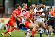 Bradford Bulls winger Omari Caro (18) in action  during the Kingstone Press Championship match between Sheffield Eagles and Bradford Bulls at, The Beaumont Legal Stadium, Wakefield, United Kingdom on 3 September 2017. Photo by Simon Davies.