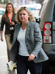 © Licensed to London News Pictures. 06/09/2015. London, UK. Secretary of State for International Development JUSTINE GREENING arriving at BBC Broadcasting House in London to appear on radio 5 Live to discuss the current migrant crisis in europe. Photo credit: Ben Cawthra/LNP