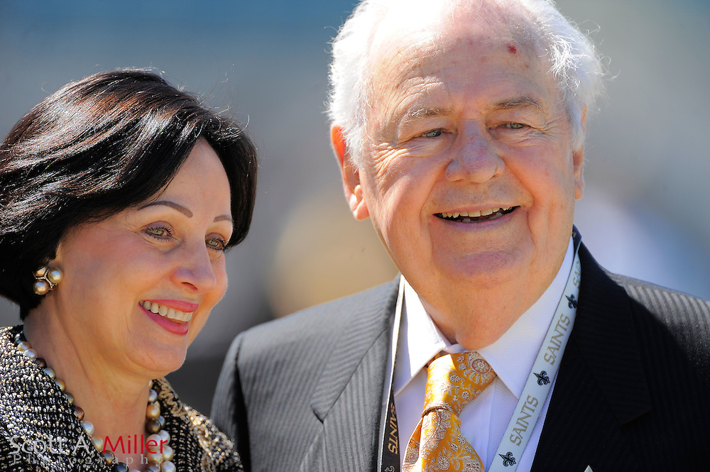 New Orleans Saints owner Tom Benson and his wife, Gayle, prior to the Saints game against the Jacksonville Jaguars at EverBank Field on Oct. 2, 2011 in Jacksonville, Fla...©2011 Scott A. Miller