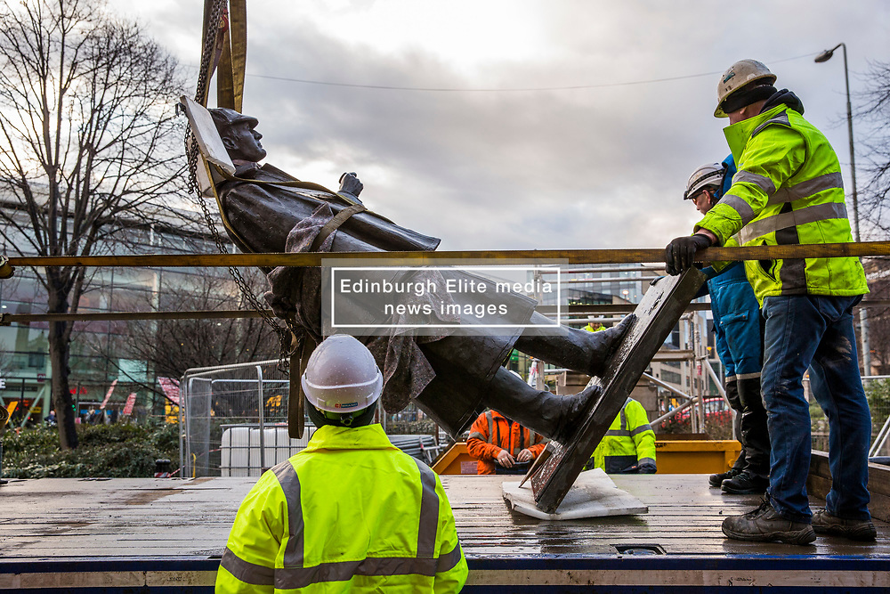 The sculpture of Sherlock Holmes by former pop-artist Gerald Laing is being moved from it's home on Picardy Place, yards from the birth place of Sir Arthur Conan Doyle.<br /> <br /> The move of the sculpture is to accommodate road and tram works that are taking place in Edinburgh. The statue will be moved to Nairn at  Black Isle Bronze Ltd by the artists son, Farquhar Laing where it will stay for two years until it returns to Edinburgh.<br /> <br /> Pictured: The statue will be transported lying down