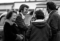 Fintan O'Hagan, Provisional Sinn Fein activist, outside Long Kesh, near Lisburn, N Ireland, following his release at the ending of internment. Fintan is the son of Joe B O'Hagan, who in 1973 escaped from Mountjoy Prison, Dublin, by helicopter. 197512050755BMK2..Copyright Image from Victor Patterson, 54 Dorchester Park, Belfast, UK, BT9 6RJ..Tel: +44 28 9066 1296.Mob: +44 7802 353836.Voicemail +44 20 8816 7153.Skype: victorpattersonbelfast.Email: victorpatterson@me.com.Email: victorpatterson@ireland.com (back-up)..IMPORTANT: If you wish to use this image or any other of my images please go to www.victorpatterson.com and click on the Terms & Conditions. Then contact me by email or phone with the reference number(s) of the image(s) concerned.