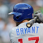 NEW YORK, NEW YORK - June 30: Kris Bryant #17 of the Chicago Cubs preparing to bat during the Chicago Cubs Vs New York Mets regular season MLB game at Citi Field on June 30, 2016 in New York City. (Photo by Tim Clayton/Corbis via Getty Images)