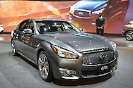 A silver Infiniti Q70L is on display at the New York International Auto Show 2016, at the Jacob Javits Center. This was Press Preview Day one of NYIAS, and the Trade Show will be open to the public for ten days, March 25th through April 3rd.