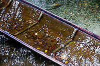 Close-up of a sunken rowboat in the Sorge river in Provence, France.