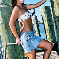 Cassidy, a spokesmodel for TheCrushGirls.com, posing on the bayfront in downtown Corpus Christi, Texas.