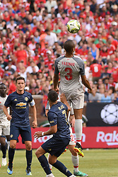 July 28, 2018 - Ann Arbor, MI, U.S. - ANN ARBOR, MI - JULY 28: Liverpool Defender Fabinho (3) heads the ball over Manchester United Forward Alexis Sanchez (7) ;in the first half of the ICC soccer match between Manchester United FC and Liverpool FC on July 28, 2018 at Michigan Stadium in Ann Arbor, MI (Photo by Allan Dranberg/Icon Sportswire) (Credit Image: © Allan Dranberg/Icon SMI via ZUMA Press)