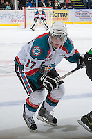 KELOWNA, CANADA - JANUARY 26: JT Barnett #17 of the Kelowna Rockets skates on the ice against the Prince Albert Raiders at the Kelowna Rockets on January 26, 2013 at Prospera Place in Kelowna, British Columbia, Canada (Photo by Marissa Baecker/Shoot the Breeze) *** Local Caption ***