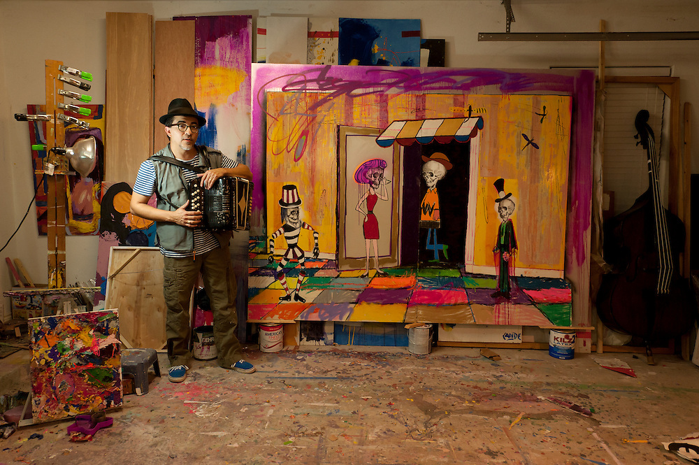 Artist Cande Aguilar began his career as a musician at the age of 10 and he recorded his first album by the age of 13. Brownsville, Texas, USA.<br /> <br /> &copy; Stefan Falke<br /> www.stefanfalke.com<br /> LA FRONTERA: Artists along the US Mexican Border