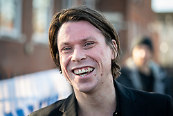 © Licensed to London News Pictures. 11/02/2019. London, UK. Lauri Love speaks to media before arriving at Hendon Magistrates' Court. Love, an alleged hacker, is using the 'Police (Property) Act of 1897' to seek the return of his computers which were seized by police over five years ago. Last year, The High Court blocked Love's extradition to the United States. Photo credit : Tom Nicholson/LNP