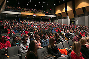 Students, faculty and staff gather for a campus-wide meeting to discuss a dorm break-in where racial slurs were left at Roberts Wesleyan College in Rochester on Friday, February 5, 2016.