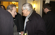 Lucian Freud and David Hockney, Opening of an exhibition of watercolours by David Hockney. Midsummer: East Yorkshire 2004, Gilbert Collection. Somerset House. 16  November 2005 . ONE TIME USE ONLY - DO NOT ARCHIVE © Copyright Photograph by Dafydd Jones 66 Stockwell Park Rd. London SW9 0DA Tel 020 7733 0108 www.dafjones.com