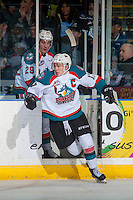 KELOWNA, CANADA - DECEMBER 30: Rodney Southam #17 of the Kelowna Rockets exits the penalty box against the Victoria Royals on December 30, 2016 at Prospera Place in Kelowna, British Columbia, Canada.  (Photo by Marissa Baecker/Shoot the Breeze)  *** Local Caption ***