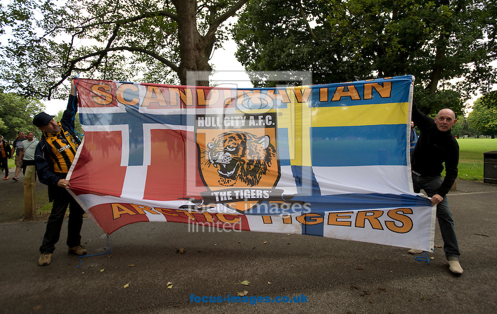 Scandinavian Hull City fans before the Premier League match at the KCOM Stadium, Hull<br /> Picture by Russell Hart/Focus Images Ltd 07791 688 420<br /> 27/08/2016