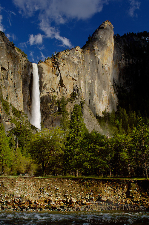 Sheer granite cliff face of Leaning Tower and Bridalveil Fall above Yosemite Valley, Yosemite National Park, California