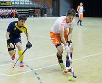 ALMERE - Zaalhockey - Oefenwedstrijd tussen de mannen van Nederland en Zweden. Philip Engelkens.  COPYRIGHT KOEN SUYK