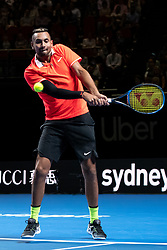January 7, 2019 - Sydney, NSW, U.S. - SYDNEY, AUSTRALIA - JANUARY 07: Nick Kyrgios (AUS) hits a backhand at The Sydney FAST4 Tennis Showdown on January 07, 2018, at Qudos Bank Arena in Homebush, Australia. (Photo by Speed Media/Icon Sportswire) (Credit Image: © Steven Markham/Icon SMI via ZUMA Press)