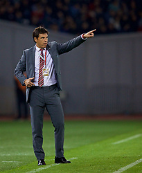 TBILSI, GEORGIA - Friday, October 6, 2017: Wales' manager Chris Coleman reacts during the 2018 FIFA World Cup Qualifying Group D match between Georgia and Wales at the Boris Paichadze Dinamo Arena. (Pic by David Rawcliffe/Propaganda)