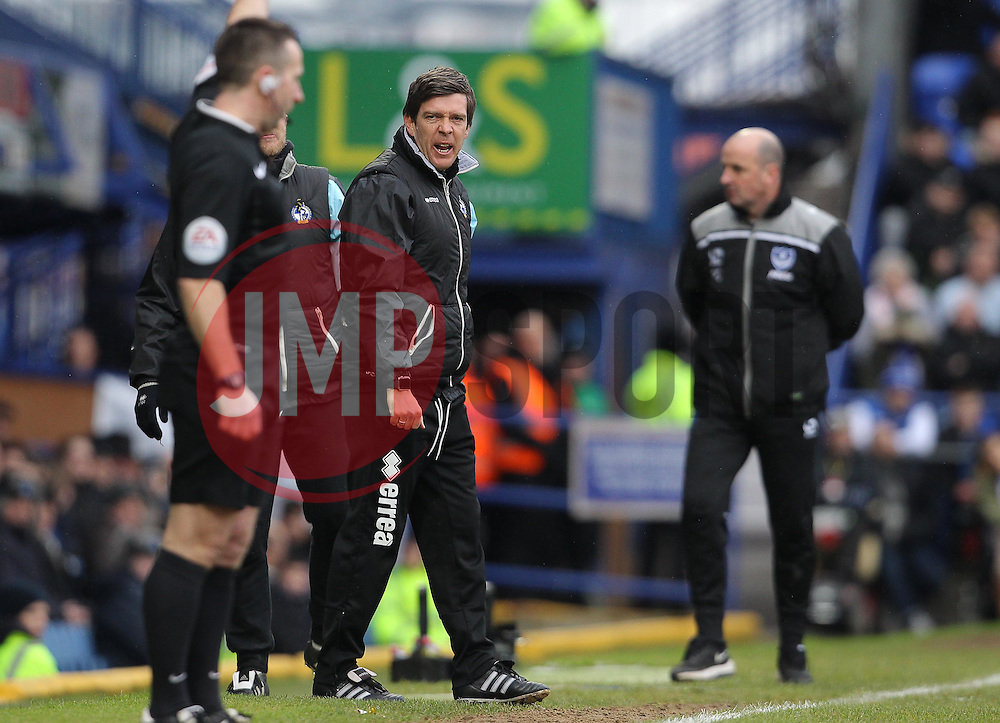 Bristol Rovers Manager, Darrell Clarke reacts towards the Linesman after a decision - Mandatory byline: Paul Terry/JMP - 13/02/2016 - FOOTBALL - Fratton Park - Portsmouth, England - Portsmouth v Bristol Rovers - Sky Bet League Two
