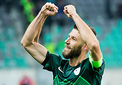 Bostjan Cesar of Slovenia celebrates after winning during football match between National teams of Slovenia and Slovakia in Round #2 of FIFA World Cup Russia 2018 qualifications in Group F, on October 8, 2016 in SRC Stozice, Ljubljana, Slovenia. Photo by Vid Ponikvar / Sportida