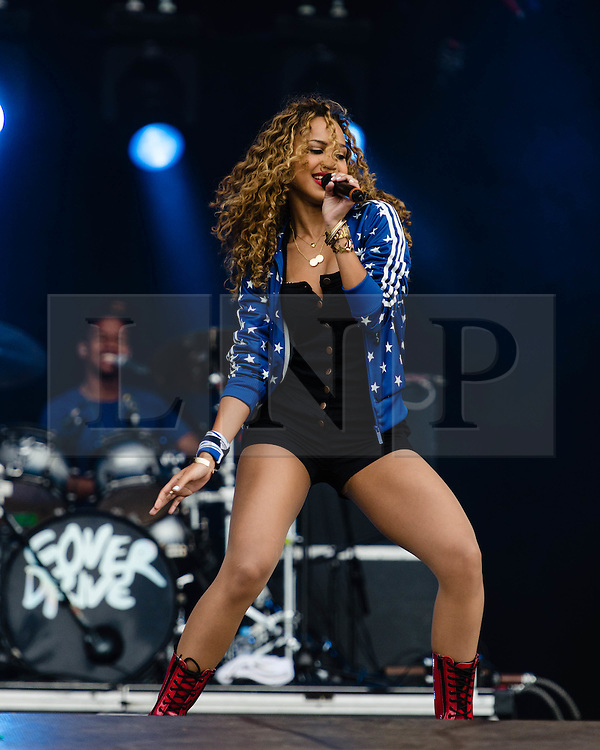 "© Licensed to London News Pictures. 31/07/2012. London, UK.  Cover Drive perform live at BT London Live at Hyde Park. Cover Drive is a four-piece band from Barbados consisting of Amanda Reifer, T-Ray Armstrong, Barry ""Bar-Man"" Hill and Jamar Harding..  Photo credit : Richard Isaac/LNP"