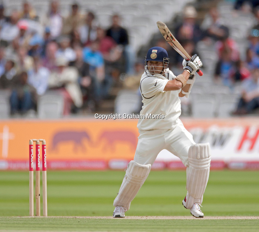 Sachin Tendulkar bats during the first npower Test Match between England and India at Lord's Cricket Ground, London.  Photo: Graham Morris (Tel: +44(0)20 8969 4192 Email: sales@cricketpix.com) 23/07/11