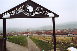 Run down community park next to council estate, Bradford, Yorkshire UK