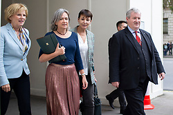 © Licensed to London News Pictures. 30/09/2019. London, UK. Leader of Change UK ANNA SOUBRY, Plaid Cymru Westminster leader LIZ SAVILLE-ROBERTS ,Green Party MP CAROLINE LUCAS and SNP Westminster Leader IAN BLACKFORD arrive at Portcullis House ahead of a meeting of opposition parties .  Photo credit: George Cracknell Wright/LNP