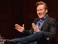 "(CAMBRIDGE MA 021216)-Conan O""Brien jokes with the audience at the Sanders Theatre. Herald photo Chris Christo"