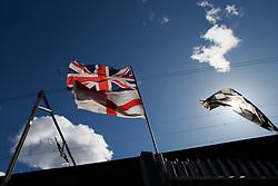 UK ENGLAND LONDON 22MAR14 - Railway line and flags in Whitechapel, London's east end.<br /> <br /> jre/Photo by Jiri Rezac<br /> <br /> © Jiri Rezac 2014