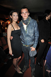 RUPERT FRIEND and DANIELA LAVENDER at a party following a gala evening of Daniela Lavender's one woman show 'A Woman Alone'  The party was held at Blakes Hotel, Roland Gardens, London SW7 on 7th April 2011.