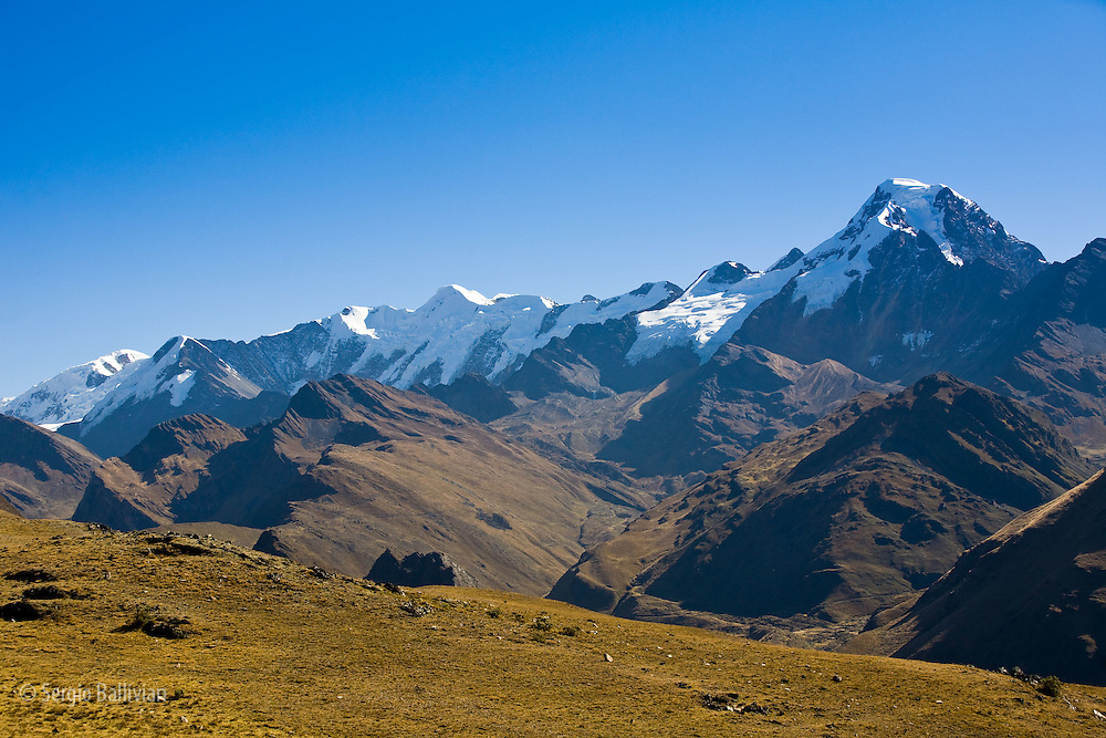 Mt. Akhamani (a sacred mountain to the Kallawaya) stands alone at the southern end of the Apolobamba range in the Bolivian Andes
