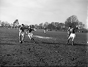 23/02/1957<br /> 02/22/1957<br /> 23 February 1957 <br /> Soccer: Queens University v U.C.C., FInal of the Collingwood Cup at Belfield, Dublin.
