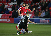 Charlie Goode of Northampton(5) in action during the EFL Sky Bet League 2 match between Salford City and Northampton Town at the Peninsula Stadium, Salford, United Kingdom on 11 January 2020.