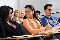 Friends sitting in class lecture