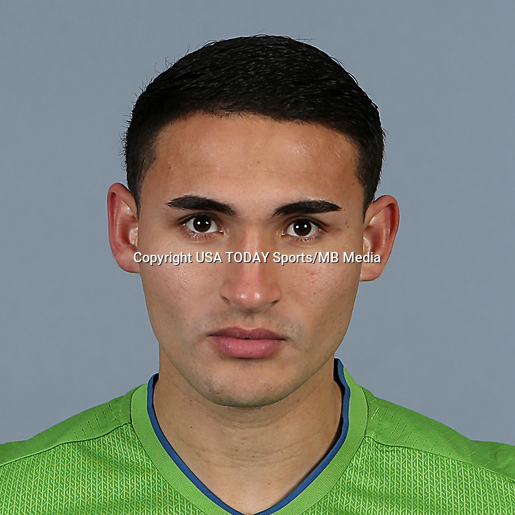 Feb 25, 2016; USA; Seattle Sounders FC player Cristian Roldan poses for a photo. Mandatory Credit: Corky Trewin-USA TODAY Sports