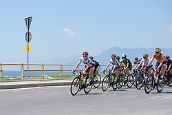 Lisa Klein leads the peloton along the seafront in Salerno on Stage 8 of the Giro Rosa - a 141.8 km road race, between Baronissi and Centola fraz. Palinuro on July 7, 2017, in Salerno, Italy. (Photo by Sean Robinson/Velofocus.com)