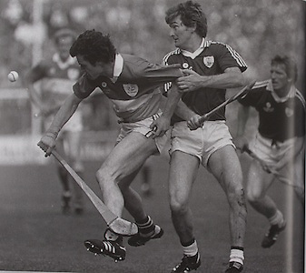 Offaly's Pat Fluery with Galway's Noel Lane and Bernie Forde in the 1985 final.