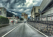 ROAD TRIP: Photographers Georgie Gillard and Rick Findler drove 1,973 miles and through nine countries for a friends wedding in Lake Garda, Northern Italy. Armed only with an iPhone and pushed for time, they decided to document their journey through the windscreen of their car.<br /> Pictured: Parcines, Tyrol, Italy.