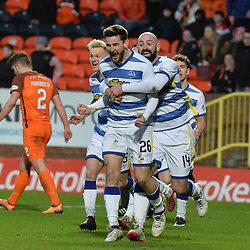 Jack Iredale (Morton) celebrates scoring Morton's third goal during the Scottish Championship match between Dundee United and Greenock Morton at Tannadice, which the visitors won.<br /> <br /> (c) Dave Johnston | sportPix.org.uk