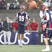 Paul Rabil #99 of the Boston Cannons reacts to a call during the game at Harvard Stadium on May 10, 2014 in Boston, Massachusetts. (Photo by Elan Kawesch)