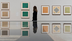 © Licensed to London News Pictures. 09/10/2018. LONDON, UK. A visitor walks by screen prints and studies by Anni Albers.  Preview of the UK's first exhibition of works by German artist Anni Albers at Tate Modern who used the ancient art of hand-weaving to produce works of modern art.  Over 350 of her artworks from major collections from Europe and the US are on show 11 October to 27 January 2019.  Photo credit: Stephen Chung/LNP