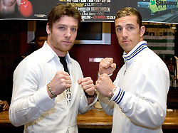 February 14, 2006 - New York, NY - Ireland's John Duddy (l)poses with opponent Shelby Pudwill (r) during the presser announcing their upcoming middleweight bout.  The two will meet on March 16th at Madison Square Garden in a St. Patrick's Day prelude.